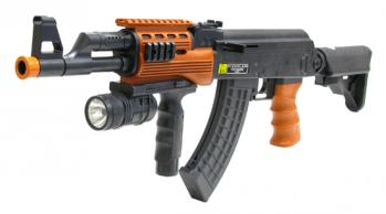 Spring Spec Ops AK-47 Assault Rifle FPS-250 Flashlight, Fore Grip, Collapsible Stock Airsoft Gun